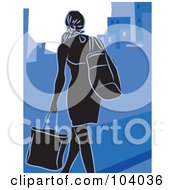 Royalty Free RF Clipart Illustration Of A Silhouetted City Woman Shopping Over Blue by Prawny