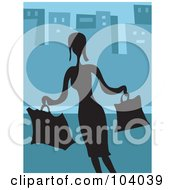 Royalty Free RF Clipart Illustration Of A Silhouetted Lady Shopping Over Blue by Prawny