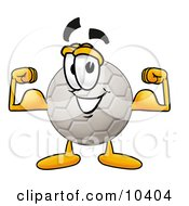 Clipart Picture Of A Soccer Ball Mascot Cartoon Character Flexing His Arm Muscles