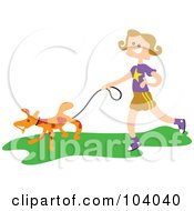 Square Head Girl Walking A Dog