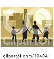Royalty Free RF Clipart Illustration Of A Silhouetted Family In A City
