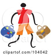 Royalty Free RF Clipart Illustration Of A Man Carrying Baggage by Prawny