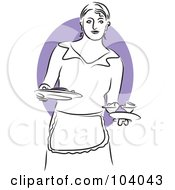 Royalty Free RF Clipart Illustration Of A Woman Serving Food