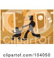 Royalty Free RF Clipart Illustration Of A Silhouetted Father Strolling With A Baby
