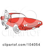 Royalty Free RF Clipart Illustration Of A Woman By A Red Car