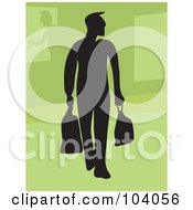 Royalty Free RF Clipart Illustration Of A Silhouetted Man Shopping by Prawny