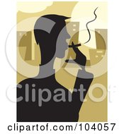 Royalty Free RF Clipart Illustration Of A Silhouetted Man Smoking Over Brown by Prawny