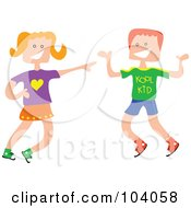 Royalty Free RF Clipart Illustration Of A Square Head Boy And Girl Laughing by Prawny