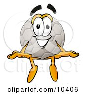 Clipart Picture Of A Soccer Ball Mascot Cartoon Character Sitting