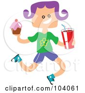 Royalty Free RF Clipart Illustration Of A Square Head Girl Carrying Junk Food