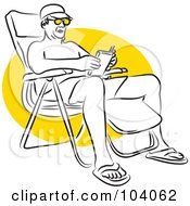 Royalty Free RF Clipart Illustration Of A Man Reading In A Beach Chair