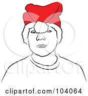 Boy Wearing A Flipped Over Santa Hat