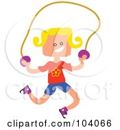 Royalty Free RF Clipart Illustration Of A Square Head Girl Skipping Rope