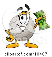 Clipart Picture Of A Soccer Ball Mascot Cartoon Character Holding A Dollar Bill by Toons4Biz