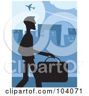 Royalty Free RF Clipart Illustration Of A Silhouetted Businessman Walking In A Blue City by Prawny