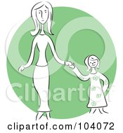 Royalty Free RF Clipart Illustration Of A Woman And Daughter Holding Hands by Prawny