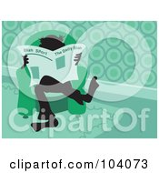 Royalty Free RF Clipart Illustration Of A Silhouetted Man Reading The Newspaper