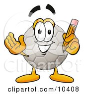 Clipart Picture Of A Soccer Ball Mascot Cartoon Character Holding A Pencil by Toons4Biz
