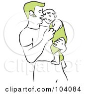 Royalty Free RF Clipart Illustration Of A Happy Father Holding His Son