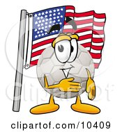 Clipart Picture Of A Soccer Ball Mascot Cartoon Character Pledging Allegiance To An American Flag