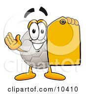 Soccer Ball Mascot Cartoon Character Holding A Yellow Sales Price Tag
