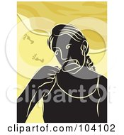 Royalty Free RF Clipart Illustration Of A Silhouetted Woman Eating A Popsicle On A Beach