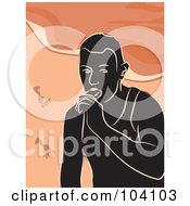 Royalty Free RF Clipart Illustration Of A Silhouetted Man Eating A Popsicle On A Beach