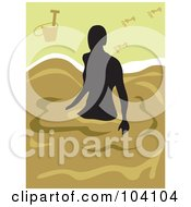 Royalty Free RF Clipart Illustration Of A Silhouetted Woman Wading On A Beach by Prawny