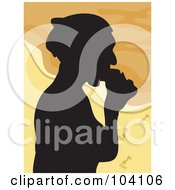 Royalty Free RF Clipart Illustration Of A Silhouetted Woman Eating On A Beach