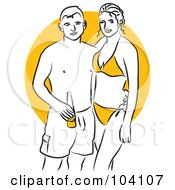 Royalty Free RF Clipart Illustration Of A Woman And Her Boyfriend Standing In Swimwear