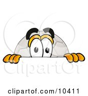 Clipart Picture Of A Soccer Ball Mascot Cartoon Character Peeking Over A Surface