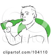 Royalty Free RF Clipart Illustration Of A Man Drinking A Beer by Prawny