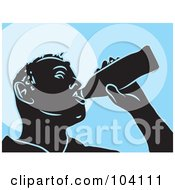Royalty Free RF Clipart Illustration Of A Silhouetted Man Drinking Beer Over Blue by Prawny