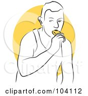 Royalty Free RF Clipart Illustration Of A Man Eating A Popsicle