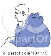 Royalty Free RF Clipart Illustration Of A Bored Teen Boy In A Blue Sweater