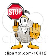 Clipart Picture Of A Soccer Ball Mascot Cartoon Character Holding A Stop Sign by Toons4Biz