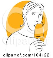 Royalty Free RF Clipart Illustration Of A Man Eating An Orange Popsicle by Prawny