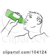 Royalty Free RF Clipart Illustration Of A Man Chugging A Beer by Prawny
