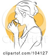 Royalty Free RF Clipart Illustration Of A Woman Eating Ice Cream