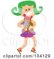 Royalty Free RF Clipart Illustration Of A Square Head Girl Carrying Her Toys by Prawny