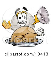 Clipart Picture Of A Soccer Ball Mascot Cartoon Character Serving A Thanksgiving Turkey On A Platter by Toons4Biz