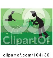 Royalty Free RF Clipart Illustration Of Silhouetted People Gardening by Prawny