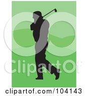 Royalty Free RF Clipart Illustration Of A Silhouetted Golfer Man Over Green by Prawny
