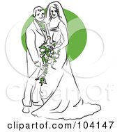 Royalty Free RF Clipart Illustration Of A Happy Bride And Groom With Green Flowers by Prawny