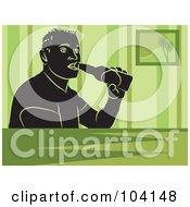Royalty Free RF Clipart Illustration Of A Silhouetted Man Drinking Beer Over Green by Prawny