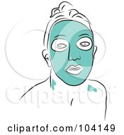 Royalty Free RF Clipart Illustration Of A Woman Wearing A Green Facial Mask