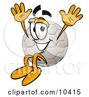 Clipart Picture Of A Soccer Ball Mascot Cartoon Character Jumping by Toons4Biz