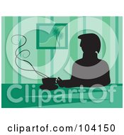 Silhouetted Man Drinking Coffee Over Green