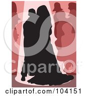 Royalty Free RF Clipart Illustration Of A Silhouetted Bride And Groom Dancing by Prawny