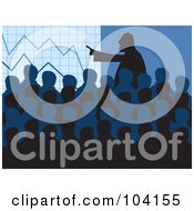 Royalty Free RF Clipart Illustration Of A Silhouetted Crowd At A Board Meeting Over Blue